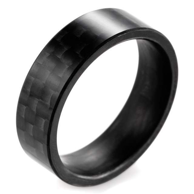 SHARDON Solid Men's Matte Finish Black Carbon Fiber Ring Black Wedding Band