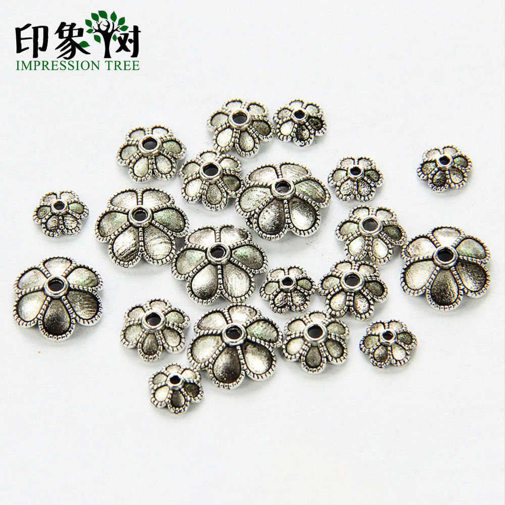6/8/11mm Zinc Alloy Silver Flower Star Spacer End Beads Caps Charms For Jewelry Making Bracelet Accessories 845