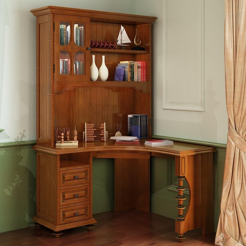 American wood computer desk corner bookcase combination of