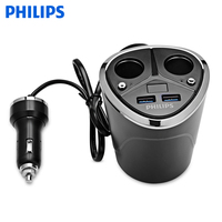 PHILIPS DLP2029 Dual USB Car Charger Adapter Vehicle Cigarette Lighter 12V 3 1A Auto Quick Charge