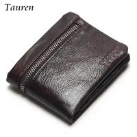 TAUREN Classic Genuine Leather Mens Wallets Brand Zipper Design Short Men Purse Male Clutch With Card