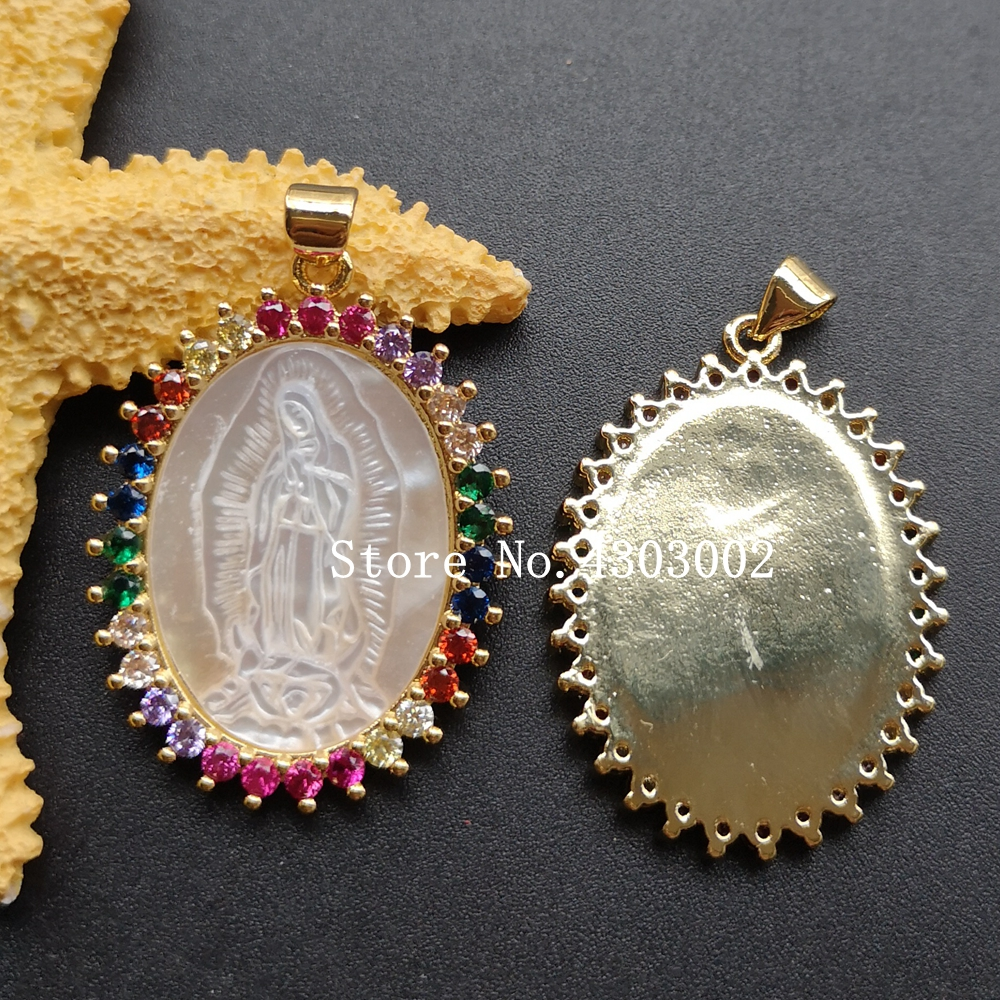 Image 5 - 10pcs/lot Micro Pave AAA CZ Natural Virgin of Guadalupe Mother of  Pearl Shell Pendant Guadalupe Pearl Shell MOP Charms for giftPendant  Necklaces