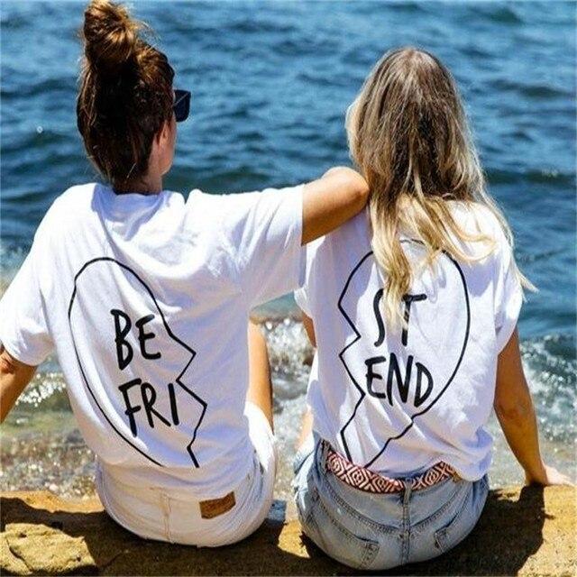 2017 Novo Verão Melhores Amigos Camiseta Impressão Carta SER FRI FINAL RUA Das Mulheres T-shirt Moda Manga Curta Roupas Femininas Preto Branco