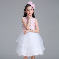 Christmas Party Princess Ball Gown Tutu Dress For Girls 2017 New Style Fashion Flowers Bow Embroidered