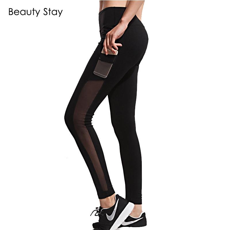 BeautyStay 2018 Spring Pockets Design Women Causal Leggings Slim Mesh Sexy Vysoký pas Leggin Workout Kalhoty Quick-dry Leggins