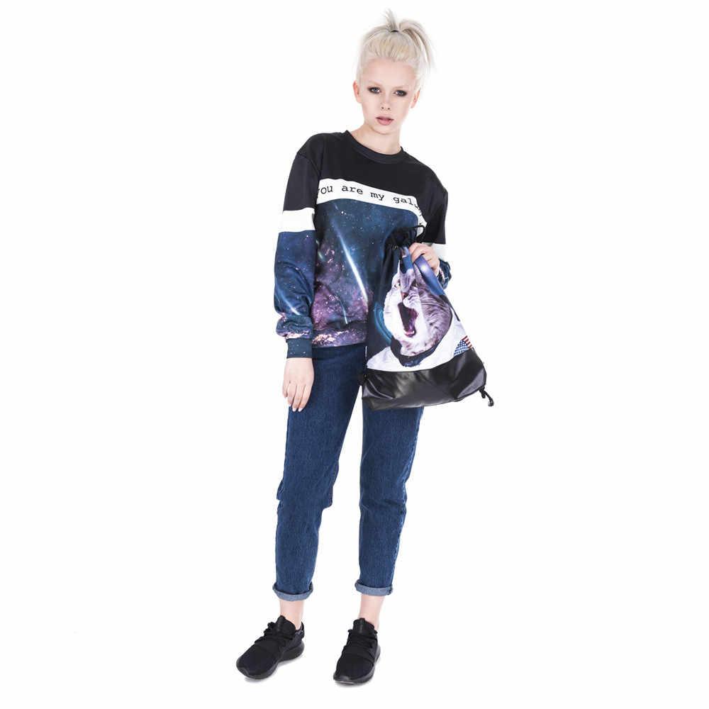 Noite brilhante céu assustado gato couro inferior mochila feminina 2018 marca moda masculina viagem lazer mochila feminina cordão
