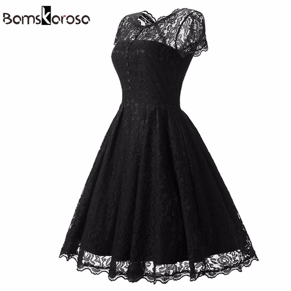 Bamskarosa Hot Sale Womens Summer Lace <font><b>Dress</b></font> 2018 Vintage O Neck Slim Sexy Pin up Rockabilly Vestidos Party Black Lace <font><b>Dresses</b></font>