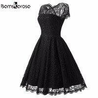 Bamskarosa Hot Sale Womens Summer Lace Dress 2017 Vintage O Neck Slim Sexy Pin Up Rockabilly
