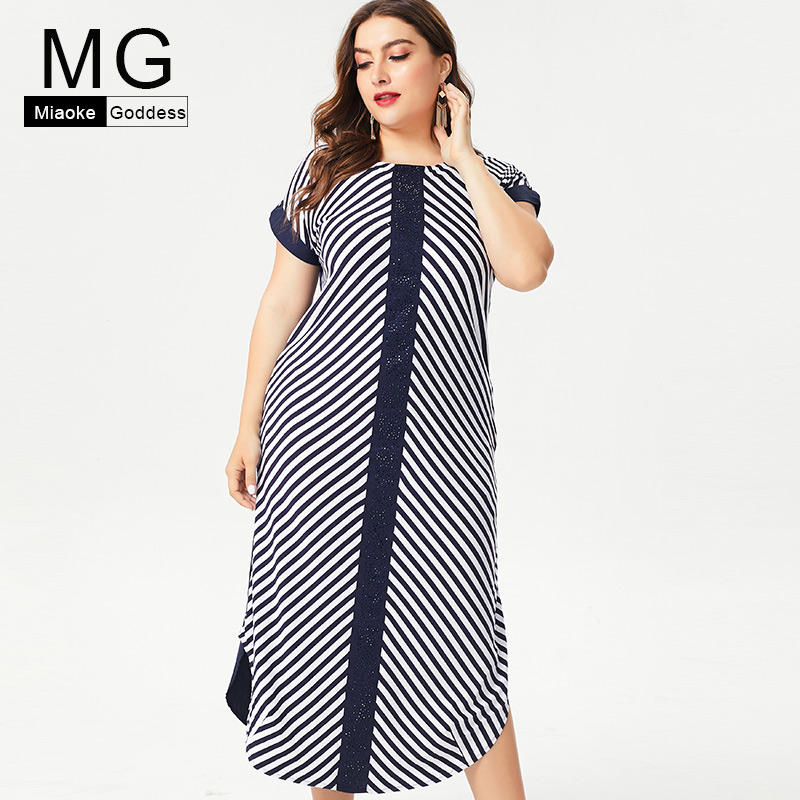 later wide range info for MG 2019 Summer Plus Size womens stripe Cotton maxi dress ...