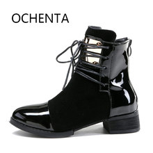 Фотография Women Leather Genuine Leather Boots Martin Ankle Boots Women
