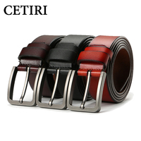 Business Men Belts Male Waist Strap Cowskin Genuine Leather Belt Big Pin Buckle Wide Designers Belts