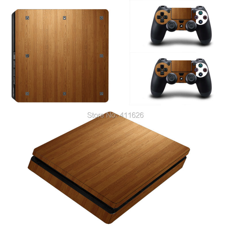 SP Blue Fire Wood Army Sticker Bomb Protective skin sticker for PS4 slim console vinyl decal for playstation 4 slim