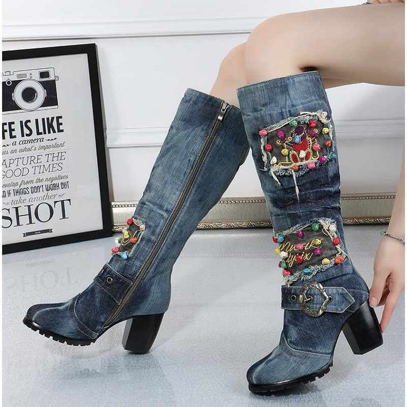Blue Denim Over the Knee Canvas Shoes High heeled Side Zipper High Boots Water Washing Denim