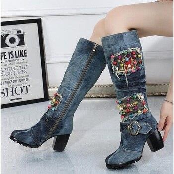e44743b8b7 ... Women's Boots · Knee-High Boots. Blue Denim Over-the-Knee Canvas Shoes  High-heeled Side Zipper High—