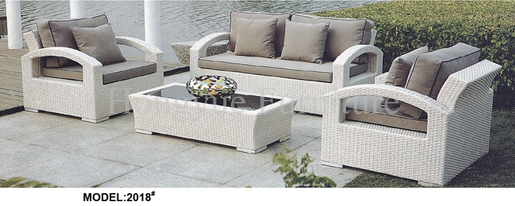 Garden white rattan sofa set furniture with cushions