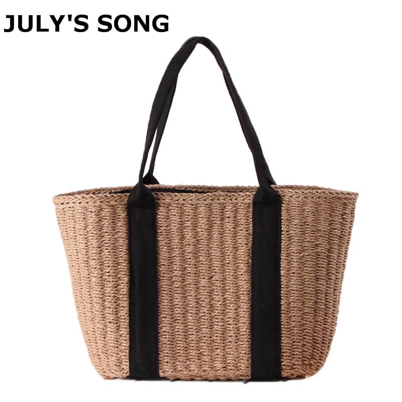 2018 Bohemian Straw Bags for Women Large Capacity Beach Handbags Summer Vintage Rattan Bag Handmade Kintted Shoulder Bags