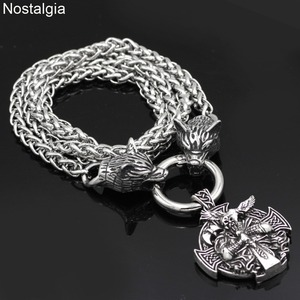 Image 2 - Nostalgia Viking Odin Raven Helena Rosova Nordic Wicca Pagan Talisman Amulet Wolf Head Stainless Steel Chain Necklace
