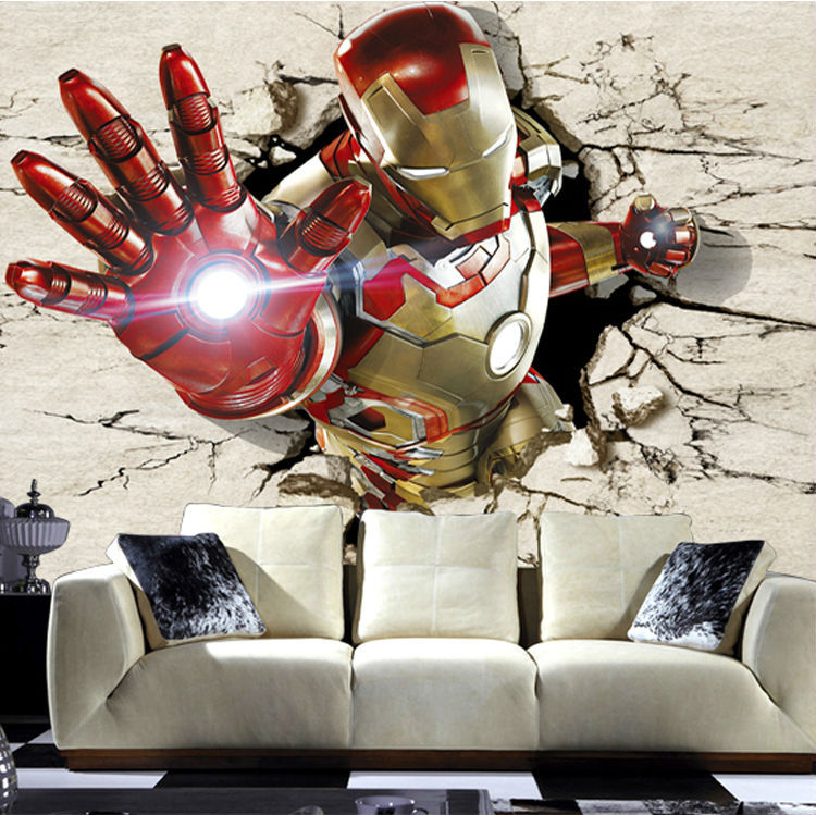 buy iron man 3d view art mural amazing super hero photo wallpaper silk. Black Bedroom Furniture Sets. Home Design Ideas