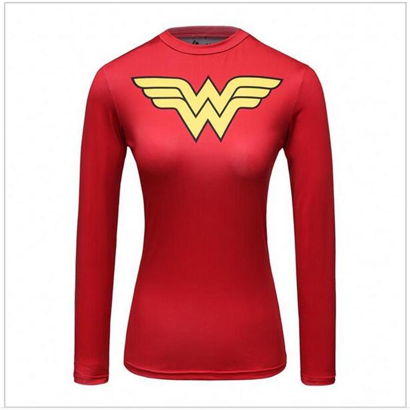 Compression Shirt Spiderman 3D Printed T Shirt Women Raglan Long Sleeve Captain America Cosplay Costume Quick