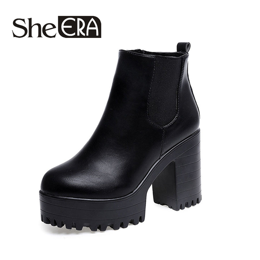 Square Heel Platforms Zapatos Mujer PU Leather Thigh High Pump Boots Motorcycle Shoes