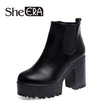 Producto 2015 Botas con plataforma de mujer temporada otoño invierno tacón cuadrado botines botines de cuero pintado a la moda botas para motocicleta botas de metal para mujeres