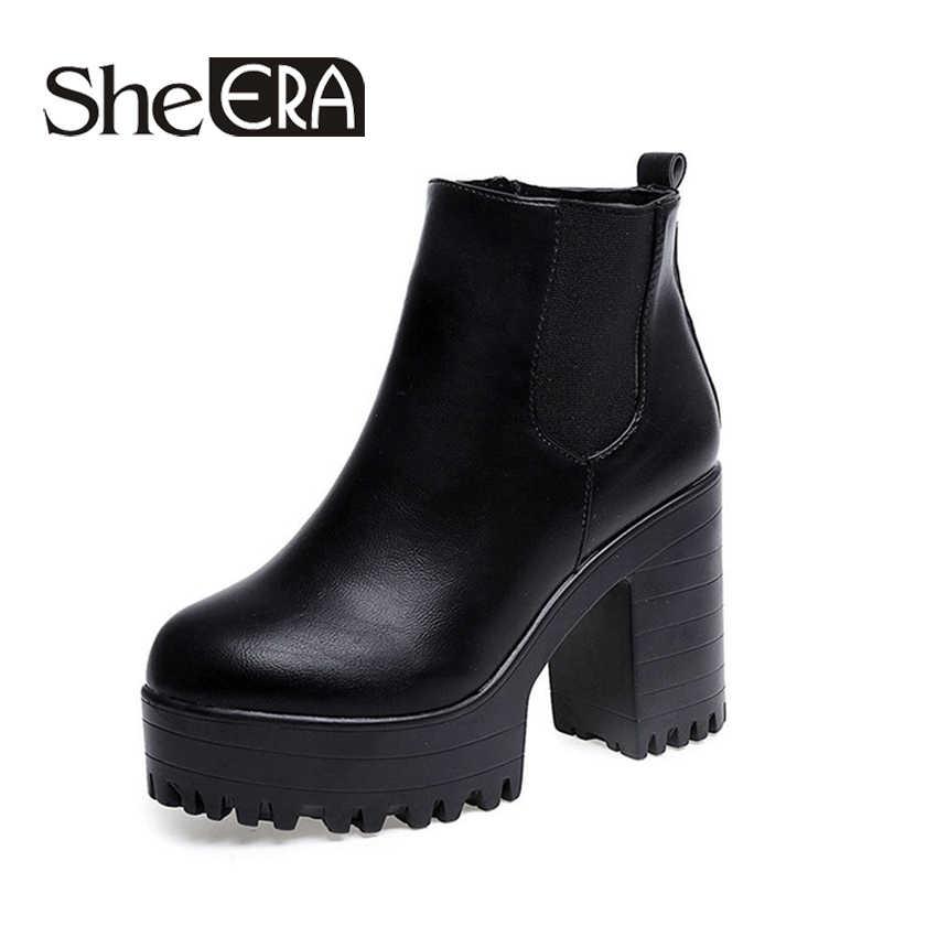 Botas Mujer Thời Trang Phụ Nữ Khởi Động Gót Vuông Nền Tảng Zapatos Mujer PU Da Đùi Cao Bơm Khởi Động Xe Gắn Máy Giày Hot Bán