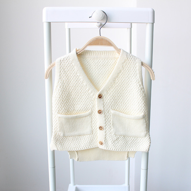 children's vest baby infant boys sweater pockets button v neck cardigan for girls spring autumn outfit girl of kids vest for boy