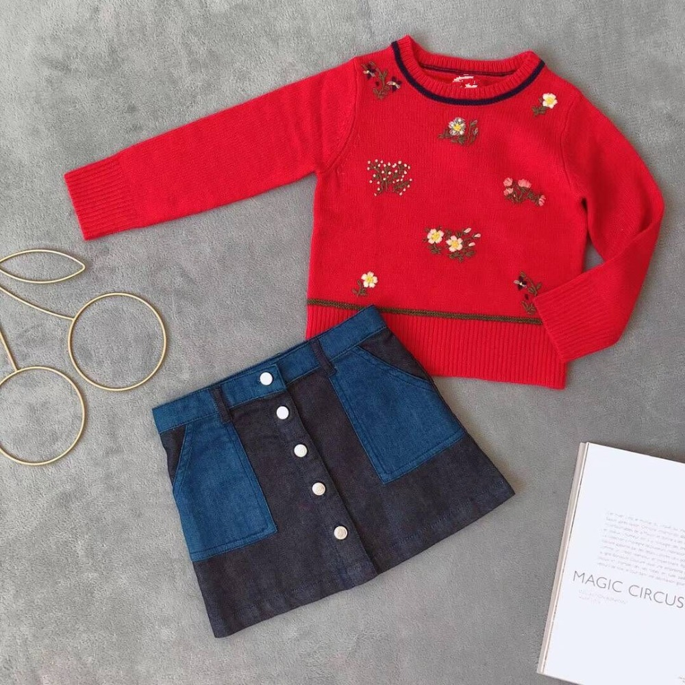 46c10c7d46d9 2018 New autumn winter kids knitted tops Baby girls sweater red girls  pullover sweater embroidered floral pattern wool sweater