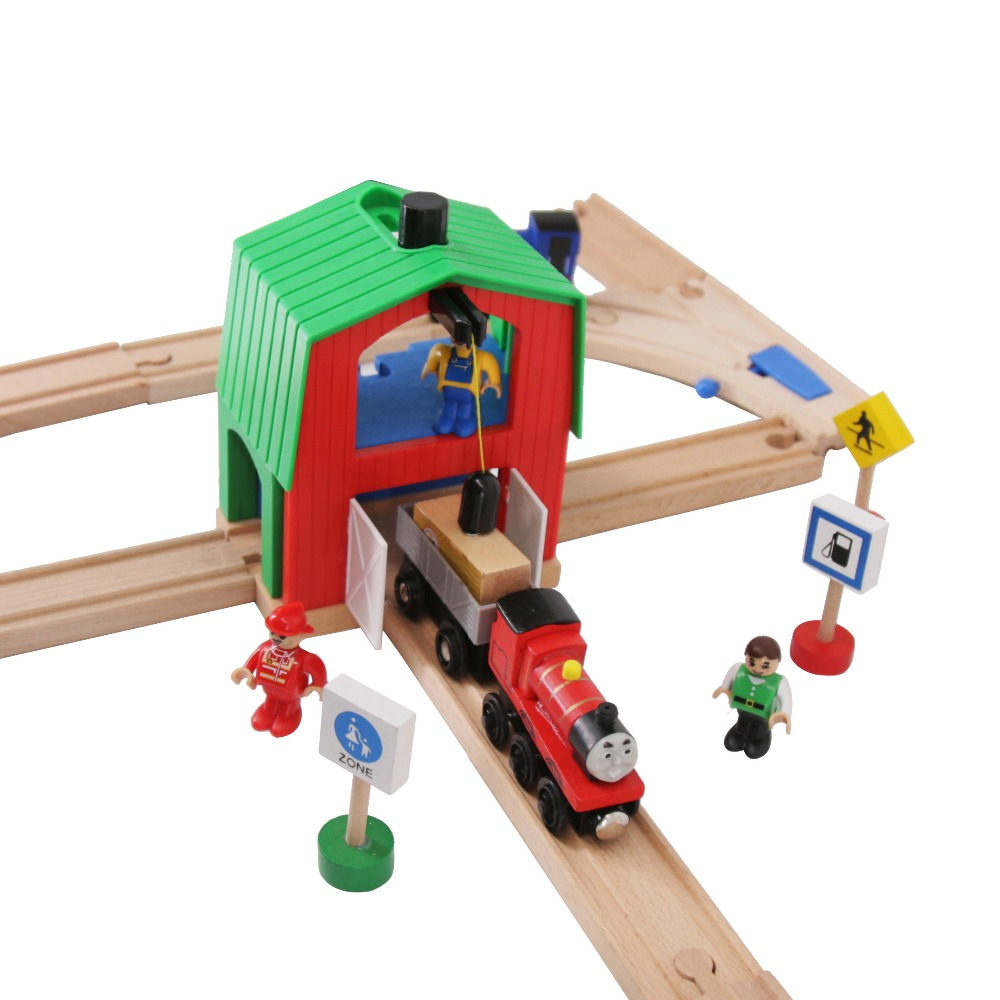 Wooden Train Track Railway Accessories Crane House Tender Educational Slot Green House Crane  DIY Thoma Brio