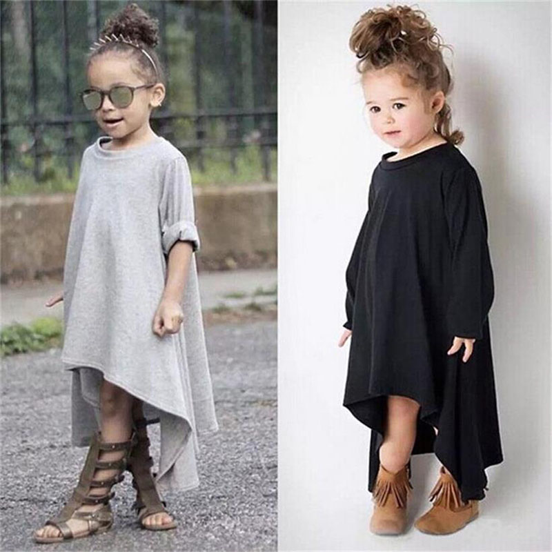 Baby Spring Autumn Dress Max Batwing Loose Asymmetric 2018 Long Sleeve Toddler Girl Dress Kids Costume Casual Black Gray Clothes