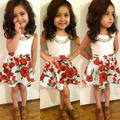 2015retail summer fashion 2-6Y girls clothes 2pcs kids clothes sleeveless white t-shirt+rose floral tutu skirt girl clothing set