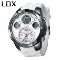 LOX Men Fashion Casual Analog Digital Multifunction Watch Dual Display Quartz Wristwatches Outdoor Fun Clock Relojes