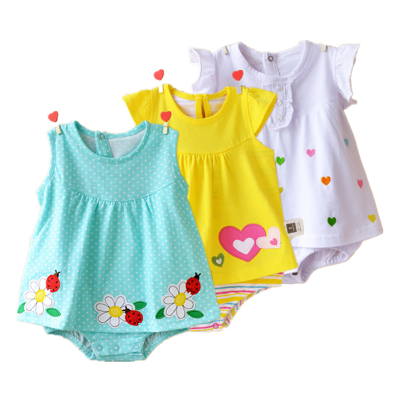 Baby Girl Rompers Summer 100% Cotton Infant Jumpsuits Roupas Bebes Colorful Cartoon Newborn Princess Skirt Toddler Girls Clothes цена 2017