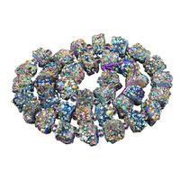 1Strand Green Titanium Stone Beads 16 Inch 25 45mm Quartz Stone Beads Finding Crystal Natural Druzy