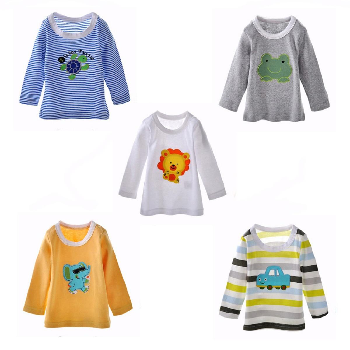 5 Stks/set Baby T Shirts Hoge Kwaliteit Katoen Lange Mouwen Kleding Voor Pasgeboren Borduren Cartoon Animal Ontwerp Baby Jongens Kleding Kwaliteit En Kwantiteit Verzekerd