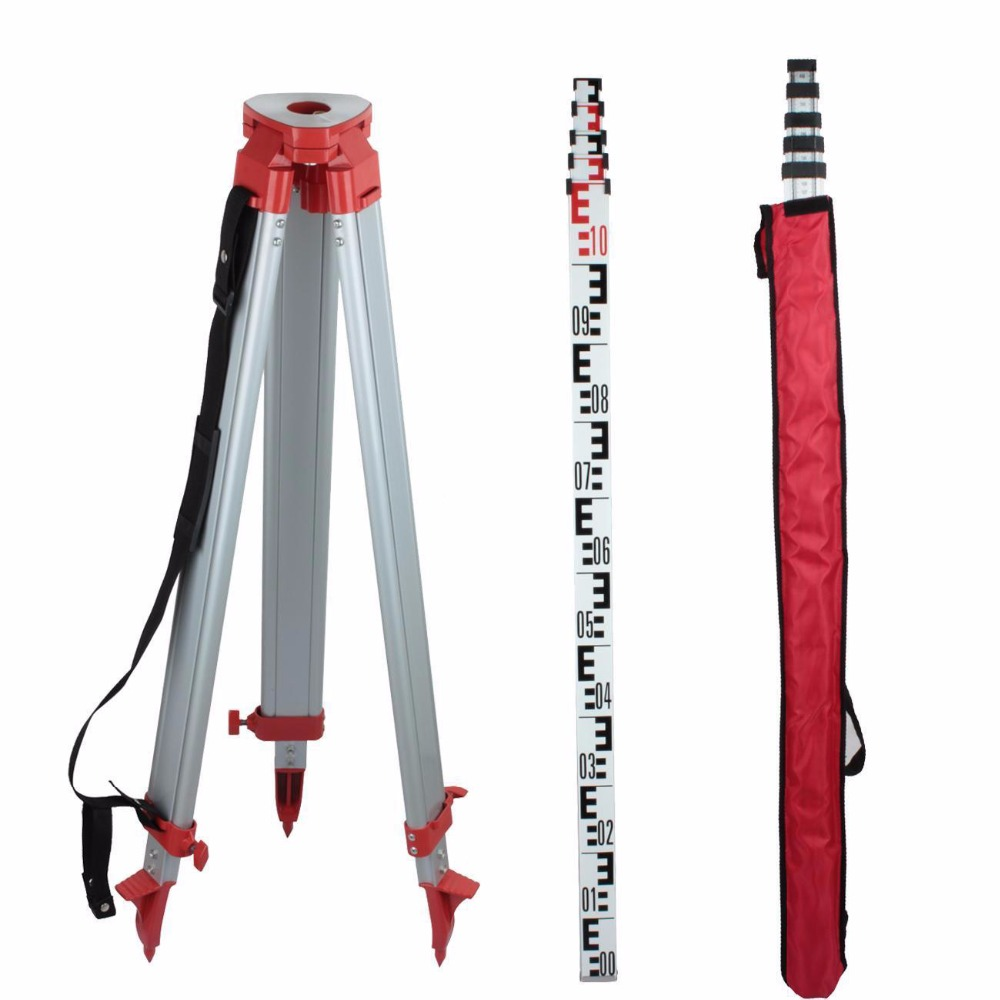 (Ship from Germany) 5M Staff 1.65M Aluminum Tripod For Laser Level Leveling Construction Measuring ship construction