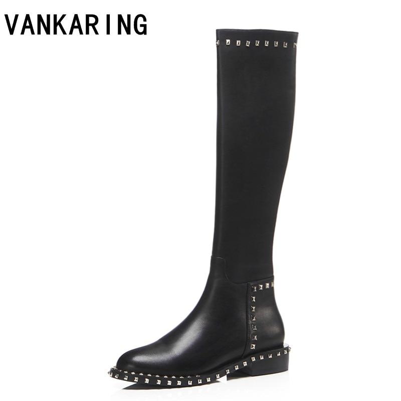 VANKARING الشتاء دراجة نارية أحذية النساء جلد طبيعي + pu كعب سميك النساء الركبة عالية الأحذية الدافئة المسامير أحذية الثلوج النساء-في بوت للركبة من أحذية على  مجموعة 1