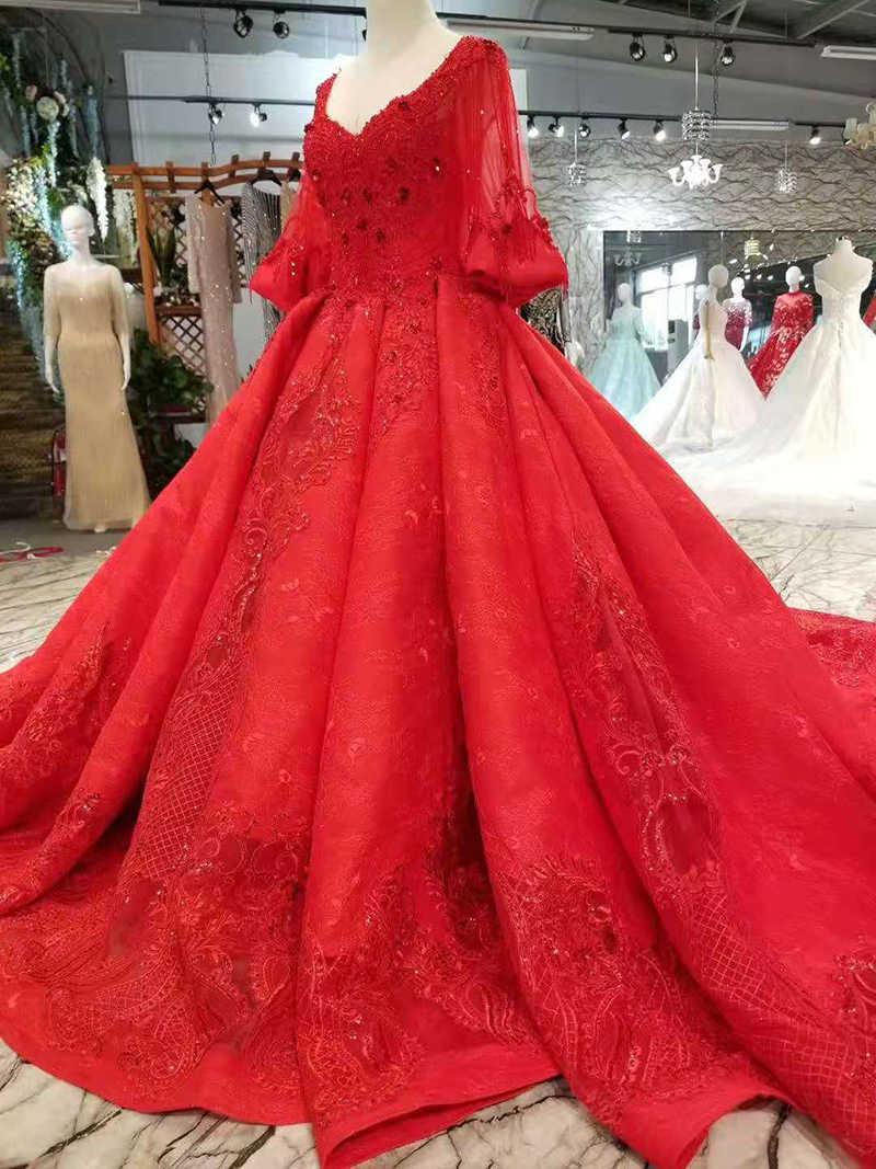 LSS285 vermelho vestidos de casamento inchado grande decote em v metade mangas vestidos de casamento com long train vestido de baile vestido de festa de casamento da noiva 2019