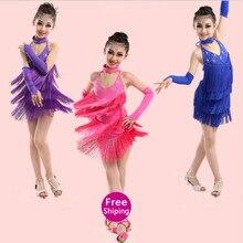 Latin Dress Kids Fringe Ballroom Tango Samba Salsa Dance Competition Dresses Dance Wear Latin Dance Dress For Girls