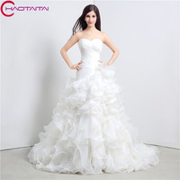 Cheap White Wedding Dresses Organza Ruffle Court Train Bridal Gown Lace Up Back Sweetheart Bridal Gown