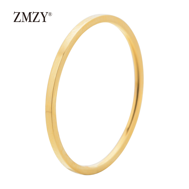 ZMZY Round Rings For Women Thin Stainless Steel Wedding Ring Simplicity Fashion Jewelry Wholesale bijoux 1mm 5
