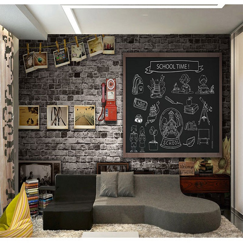 Wallpaper 3d Nostalgic Blackboard Graffiti Brick Wall Mural Bedroom Living Room TV Backdrop Retro Children