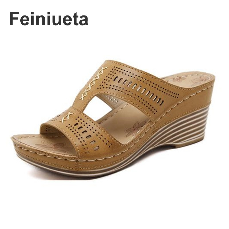 2018 Feiniueta shoes new national sandals threading slope with comfortable mother shoes foreign trade plus size female sandals