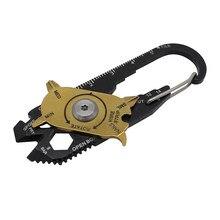 Herramienta multiherramienta de acero inoxidable 20 en 1, mini llavero con forma de llave, juego de destornilladores, combinación de instrumentos de medición