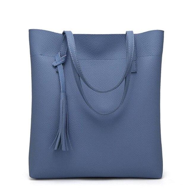 14bea25c6a PU Leather Tassel Handbags Women Purse Shopper Totes Luxury Designer sac a  main Vintage Fashion Shoulder Bag Winter Hot Sale