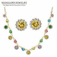 Neoglory, цветные круглые стразы, Свадебные Ювелирные наборы для женщин, подарки, новинка, MS, украшенные кристаллами Swarovski