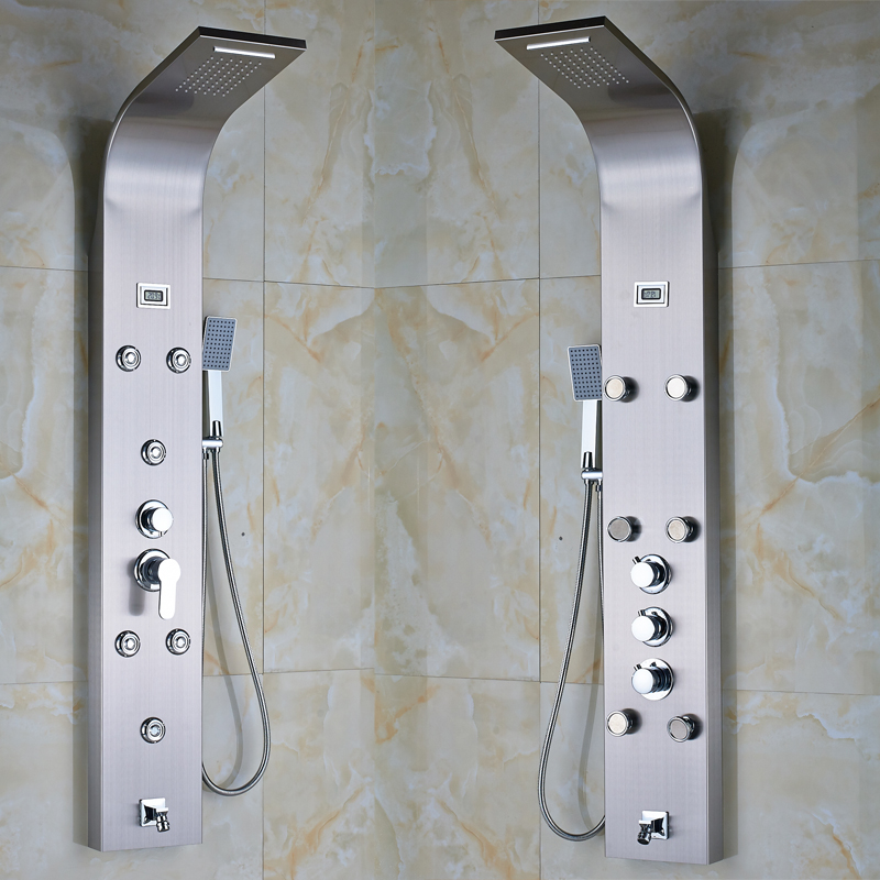 Stainless Steel Rainfall Shower Column Panel with Massage Jets System Hand  Shower Tub Spout  Popular. Shower Panels Lowes
