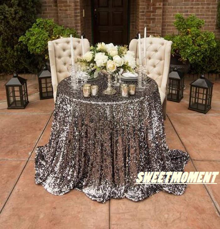 Big Sale 120u0027u0027(300cm) Shiny Silver Glittery Tablecloth Blingbling Table  Cover For