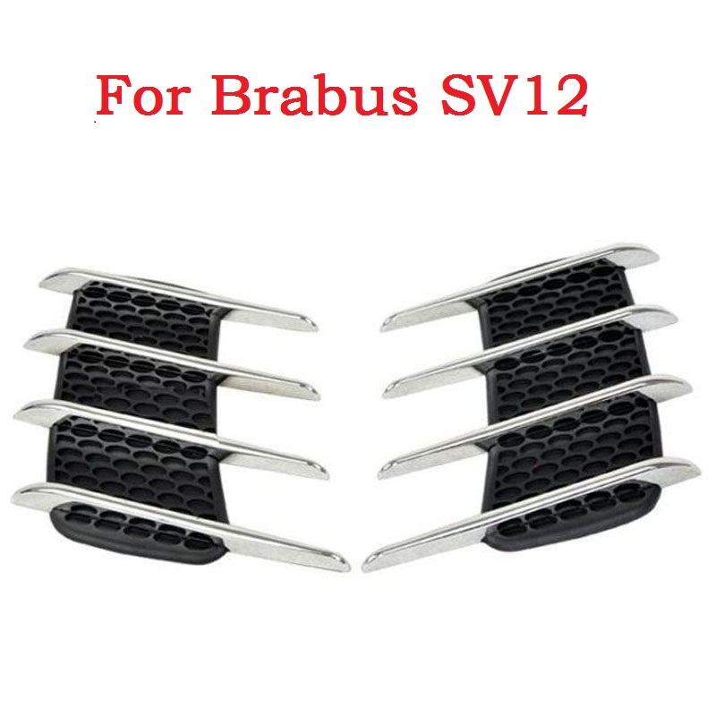 Car Shark Gills Exterior Decor Side Air Intake Flow Grille Vent Outlet Decorative Car Styling Modification For Brabus SV12 epman universal 3 aluminium air filter turbo intake intercooler piping cold pipe ep af1022 af