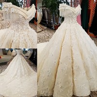 2018 Flowers Beading Fashion Sexy Wedding Dress Newest Off Shoulder High end Vintage Bridal Gown Real Photo